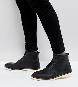 Read more about Asos wide fit lace up boots in black leather with white sole - black