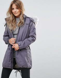 Read more about Bellfield rigento twill parka with faux fur hood - blue grey