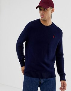 Read more about Polo ralph lauren chunky cotton knit jumper with crew neck in navy