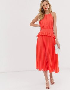Read more about Asos design pleated halter neck midi dress with frill waist
