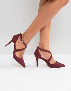 Read more about Carvela cross strap pointed heeled shoe - wine