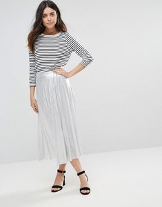 Read more about Liquorish pleated midi skirt - silver