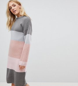 Read more about Asos tall chunky knitted dress in stripe - grey