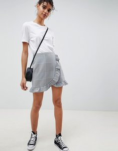Read more about Asos design tailored check mini skirt with ruffle - check