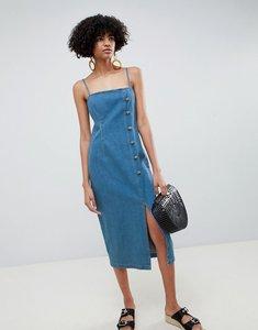 Read more about Asos design denim button side midi dress in midwash blue - midwash blue