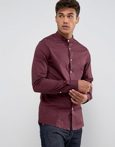 Read more about Asos design skinny shirt with grandad collar in burgundy - burgundy