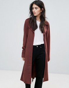 Read more about Only jennifer faux suede long trench coat - marsala