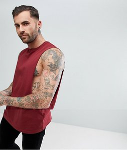 Read more about Asos longline vest with extreme dropped armhole in red - cowhide