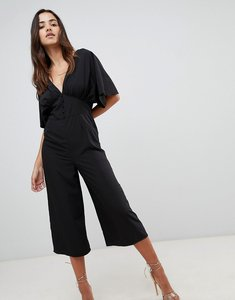 Read more about Asos design tea jumpsuit with kimono sleeve and button detail - black
