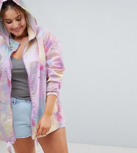 Read more about Asos curve rainwear jacket with bumbag in pastel spray paint - multi