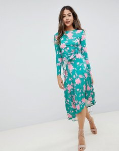 Read more about Asos design midi dress with ruched waist in shadow print - floral print