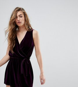 Read more about Miss selfridge exclusive velvet plunge neck playsuit - purple exclusive