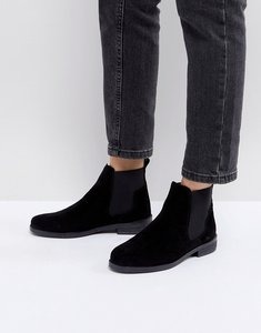 Read more about Office jamie black suede flat chelsea boots - black suede