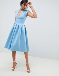 Read more about Asos design scuba seamed open back midi prom dress - blue