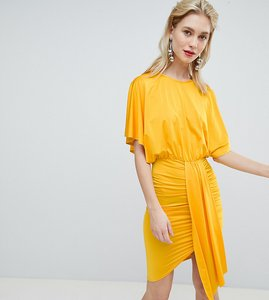 Read more about Flounce london drape front mini dress - tangerine