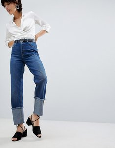 Read more about Warehouse turn up frayed hem jeans - mid wash