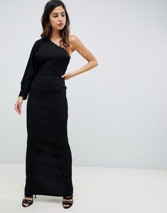 Read more about Asos design one sleeve metallic plisse maxi dress - black