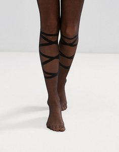 Read more about Asos tie up detail tights - black