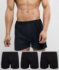 Read more about Asos design jersey boxers 3 pack in black save - black