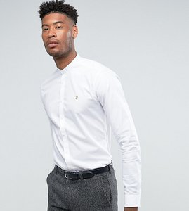 Read more about Farah tall shirt with grandad collar in slim fit with stretch - white