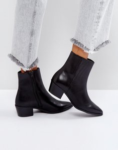 Read more about Pieces pointed leather ankle boots - black