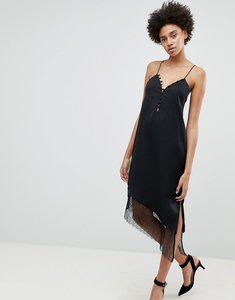 Read more about N12h after hours lace trim slip dress - black
