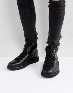 Read more about H by hudson stange leather hiker lace up boots - black