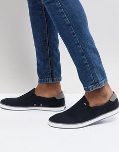 Read more about Tommy hilfiger iconic slip on canvas plimsolls in black - black