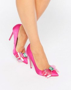 Read more about Asos payday embellished pointed high heels - pink