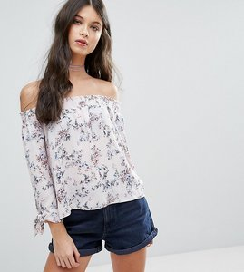 Read more about Miss selfridge petite printed bardot woven top - multi