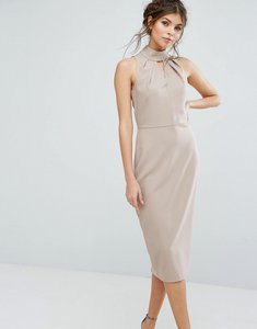 Read more about Closet london high neck midi dress with keyhole detail - neutral