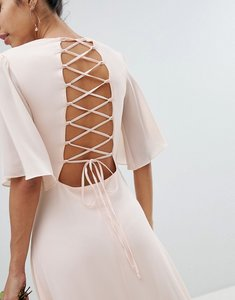 Read more about Tfnc lace up back maxi bridesmaid dress with flutter sleeve - nude