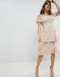 Read more about Needle thread tiered midi dress with embroidery and lace detail - petal pink