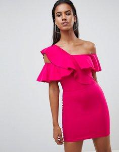 Read more about Rare london one shoulder shoulder frill mini dress - fuchsia
