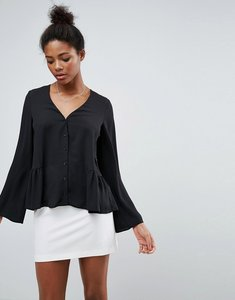 Read more about Asos v neck blouse with ruffle hem - black