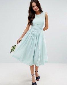 Read more about Asos wedding midi dress with rouche panel detail - blue