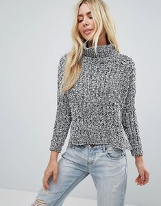 Read more about Brave soul roll neck jumper in twist yarn - black and grey twist