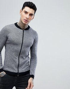 Read more about Asos design knitted bomber in grey - grey twist