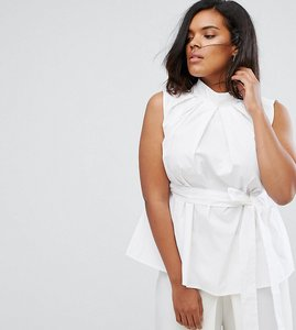Read more about Asos curve premium high neck cotton top with eyelet detail - white