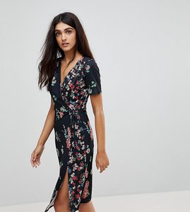 Read more about Asos tall midi wrap dress in mixed floral print - multi