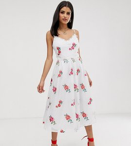 Read more about Little mistress tall full prom skater dress in rose embroidery - cream multi