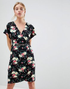 Read more about Qed london floral print kimono sleeve dress with wrap front - black