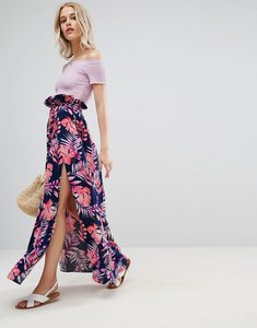 Read more about Asos maxi skirt with belt and thigh split in tropical print - tropical