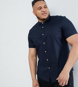 Read more about Asos design plus slim fit linen mix shirt with grandad collar in navy - navy