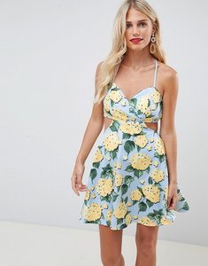 Read more about Asos design strappy babydoll mini dress in floral print - blue based floral