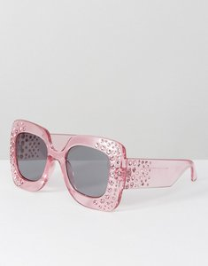 Read more about Asos oversized square embellished sunglasses - pink