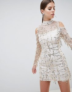 Read more about Ax paris high neck long sleeve dress with all over embellishement - champ