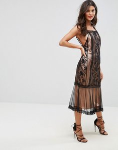 Read more about Asos lace panelled midi dress - black