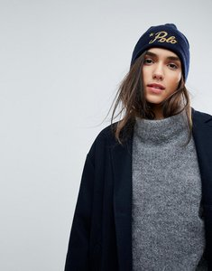 Read more about Polo ralph lauren wool beanie with gold logo - navy