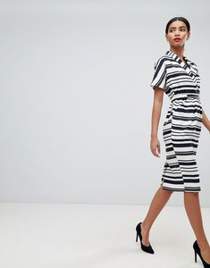 Read more about Asos design stripe midi dress with pockets - multi